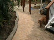 Completed paving. Over time the difference in colour will become less noticeable.